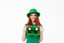 Happy Young Redheaded Girl Wearing Green Hat