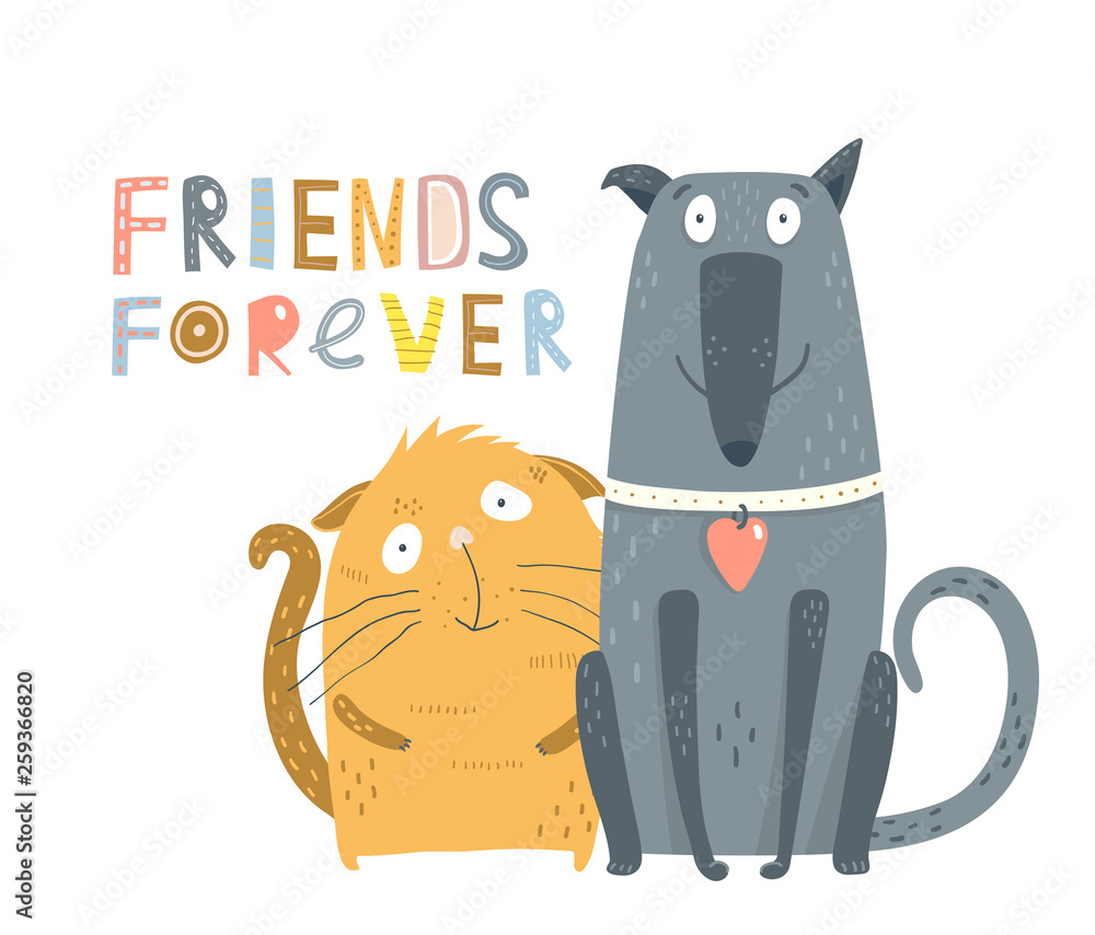 Fototapeta Cat and Dog Friends. Funny kitty and dog puppy graphic cartoon. Vector illustration.