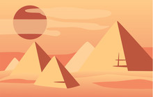 Beautiful Natural Desert Landscape, Scene Of Nature With Pyramids And Sun Vector Illustration