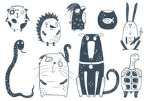 Domestic Animals Collection Black And White. Dog Cat Parrot Hamster And Rabbit Hedgehog Graphic Cartoon.
