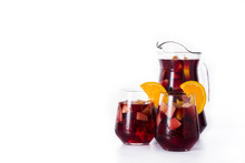 Red Wine Sangria Isolated On White Background. Copyspace
