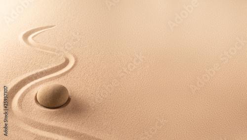 Fotografia Spa wellness background of a zen meditation garden with sand and round stone