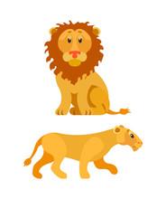 Sitting Lion, King Of Animals,...