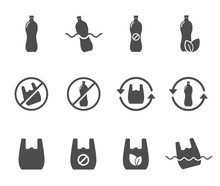 Stop Using Plastic Bag And Plastic Bottle Silhouette Vector Icons Isolated On White Background. Say No To Plastic Bag. Stop Plastic Pollution To Save Environment And Ecology Of Earth