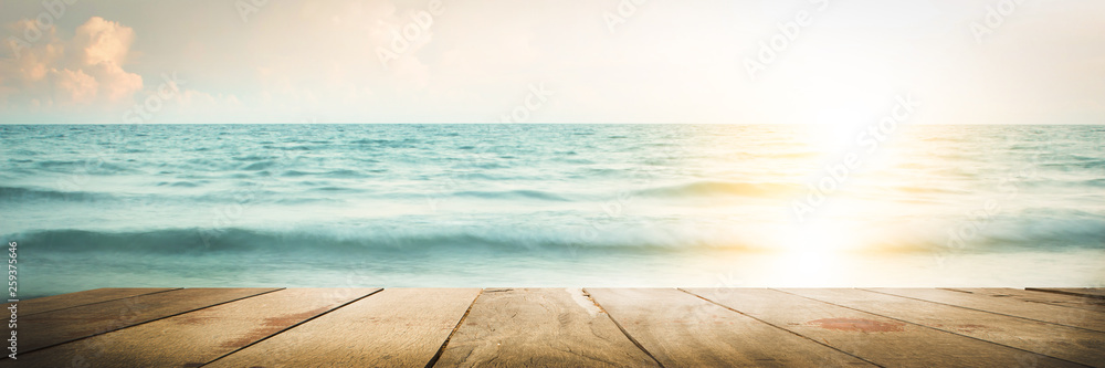 Fototapety, obrazy: empty wood table on blurred Sea walk on the beach with sunrise, warm tone
