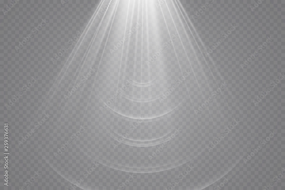 Fototapety, obrazy: Sunlight on a transparent background. Glow light effects. Star flashed sequins. Sun glare on transparent background. the lens sparkles.