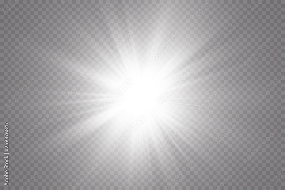 Fototapeta Glow light effect. Starburst with sparkles on transparent background. Vector illustration. Sun