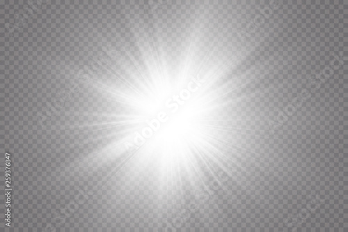 Fototapeta Glow light effect. Starburst with sparkles on transparent background. Vector illustration. Sun obraz na płótnie