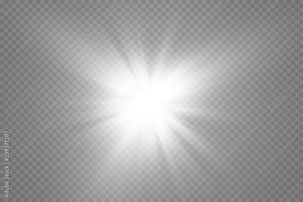 Fototapeta Glow light effect. Starburst with sparkles on transparent background. Vector illustration. Sun - obraz na płótnie