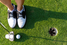 Top View Golfer Asian Sporty W...