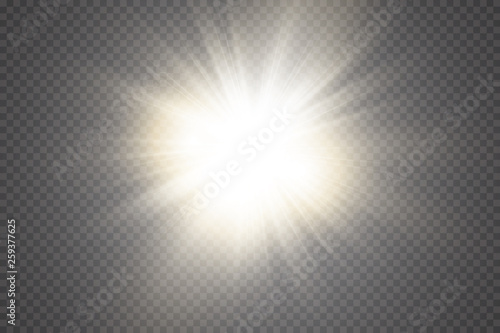Fototapeta Glow light effect. Starburst with sparkles on transparent background. Vector illustration. Sun obraz na płótnie