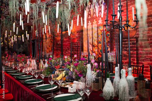 Fototapeta Table wedding decor in red and black tones
