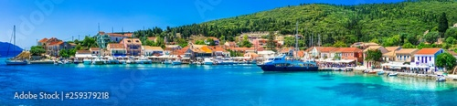 Greek holidays - beautiful Fiskardo village and port with great becahes, Kefalonia island