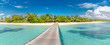 Beautiful tropical Maldives island with beach and wooden jetty. Maldives beach panorama, luxury resort and exotic vacation or holiday concept