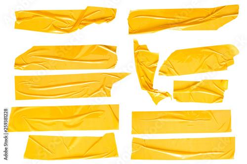 Fotografie, Obraz Set of yellow tapes on white background