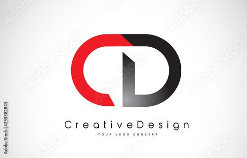 Obraz Red and Black CD C D Letter Logo Design. Creative Icon Modern Letters Vector Logo. - fototapety do salonu