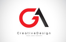 Red And Black GA G A Letter Logo Design. Creative Icon Modern Letters Vector Logo.