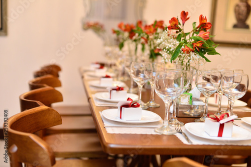 Fotografie, Obraz  mesa, restaurante, diner, binóculo, boda, ajustar, vinho, prato, alimento, conde