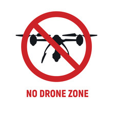 No Drone Zone Sign. No Drones Icon Vector. Flights With Drone Prohibited. No Drone Zone Sign Isolated On White Background