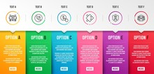 Strategy, Call Center And Partnership Icons Simple Set. Security Agency, Buy Currency And Women Group Signs. Puzzle, Phone Support. Business Set. Infographic Template. 6 Steps Timeline. Vector