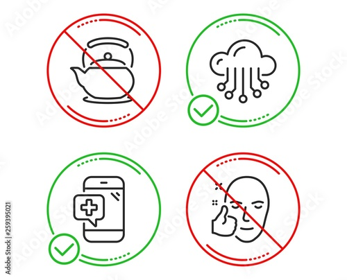 Do or Stop  Medical phone, Cloud storage and Teapot icons