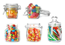 Set Of Jars With Colorful Tast...