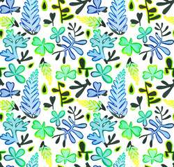 Seamless watercolor pattern made of wild flowers, meadow plants, leaves and herbs. Bright hand drawn floral elements for wrapper, wallpaper, postcard, greeting card, wedding invitations,romantic event