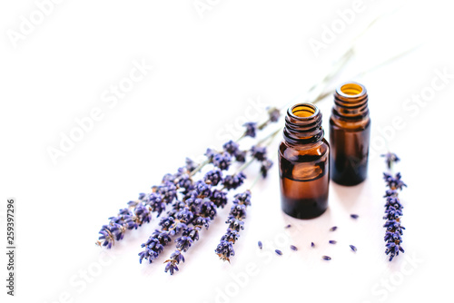 Fototapeta Dried lavender with a bottle of essential oil isolated on white background. obraz