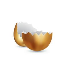 Broken Golden Egg On White Background. Cracked Golden Shell. Surprise Gift Concept. Broken Egg Isolated On White. Vector Illustration
