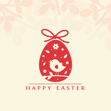 Colored Egg With Flowers And Cute Bird - Happy Easter Banner, Card, Illustration. Vector.