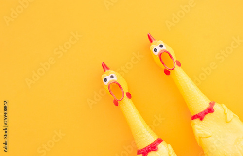 Two Chickens shouting Toy on blue background Fototapeta