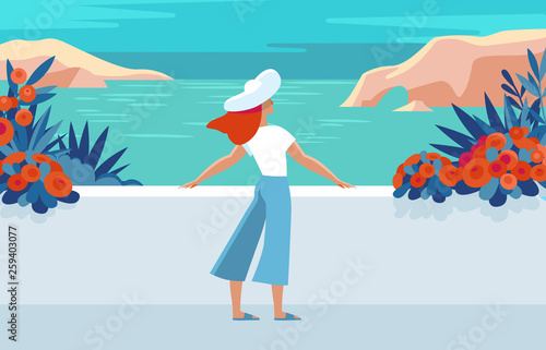 Vector illustration in trendy flat and simple style - summer landscape and woman enjoying vacation
