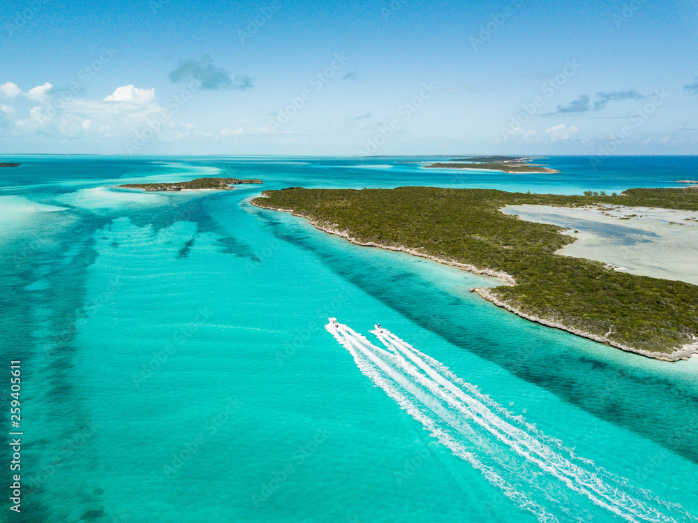Fototapety, obrazy: drone bird view of exuma in the bahamas. summer vaction