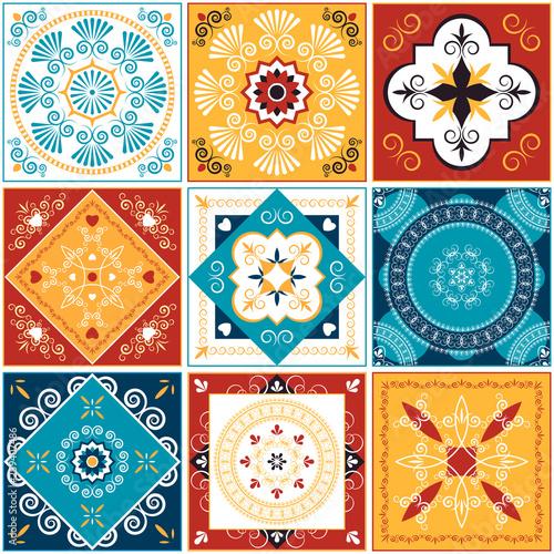 Kolorowe płytki dekoracyjne. Ilustracji wektorowych.