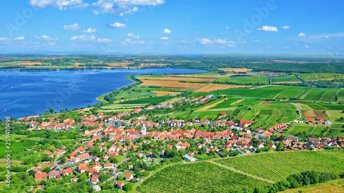 Türaufkleber Pistazie Amazing Czech landscape around Moravian village Pavlov captured on 16:9 aerial photography.