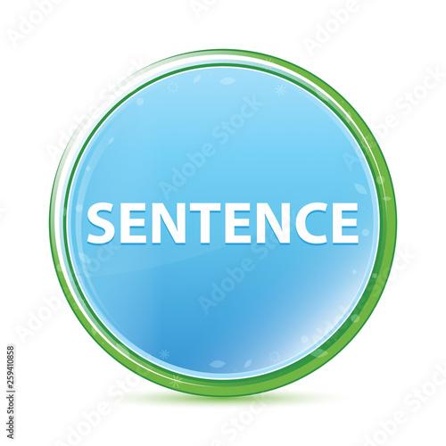 Fotografie, Obraz  Sentence natural aqua cyan blue round button