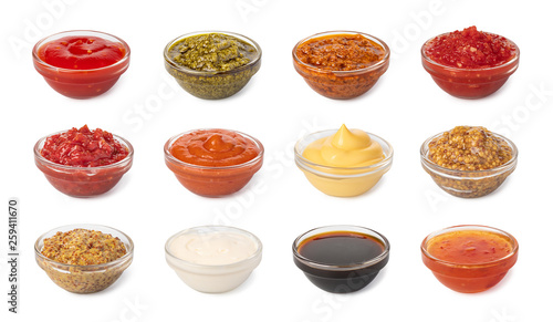Fotobehang Hot chili peppers Bowl with sauce set