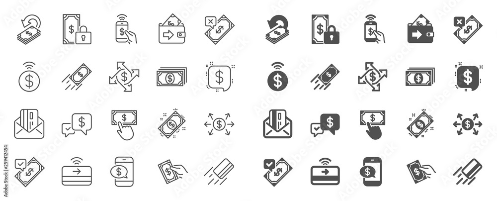 Fototapeta Payment wallet line icons. Set of Accept money transfer, Pay with Phone and Credit card by mail icons. Online payment, Dollar exchange and Fast money send. Private pay, Cash and Wallet. Vector