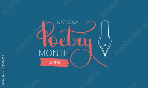 National Poetry Month In April Poster With Handwritten Lettering Poetry Festival In The United States And Canada Literary Events And Celebration Greeting Card Invitation Banner Or Background Buy This Stock Vector