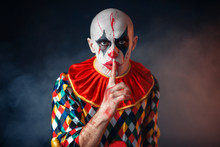 Portrait Of Mad Bloody Clown Shows The Quiet Sign