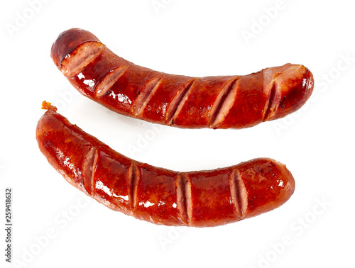 Carta da parati Grilled sausages isolated on a white background