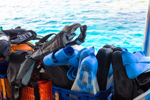 Diving Equipment On Board The Boat.