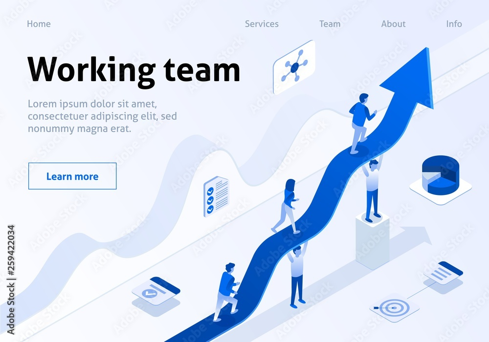 Photo  Working Team Isometric Banner Business Management