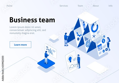 Photo  Business Team Landing Page Isometric Template