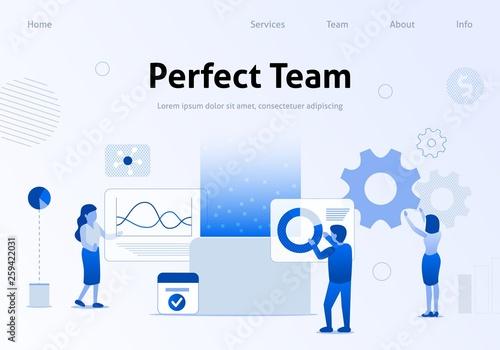 Fényképezés Perfect Team Flat Banner for Business Landing Page