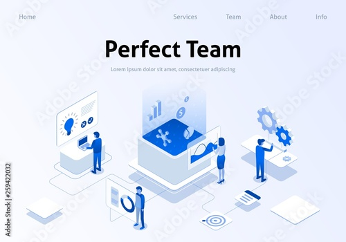 Fotomural  Perfect Team Metaphor Service Isometric Banner