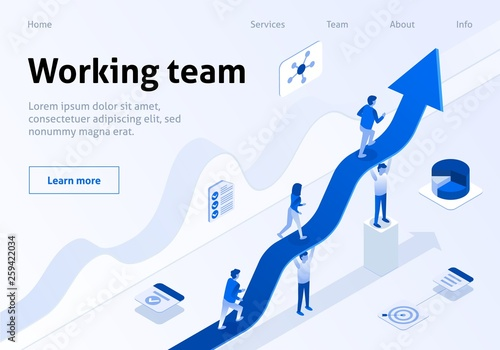 Valokuva Working Team Isometric Banner Business Management
