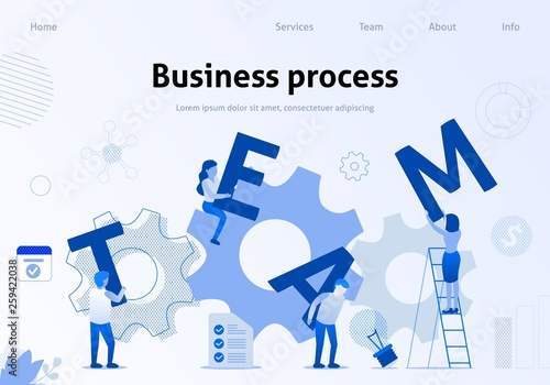 Fotografie, Obraz Business Process Effective Team Interaction Banner