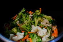 Vegetable Mix With Carrot, Broccoli And Cauliflower In The Slow Cooker.