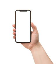 Woman Hand Holding Smart Phone With Blank Screen Isolated On White